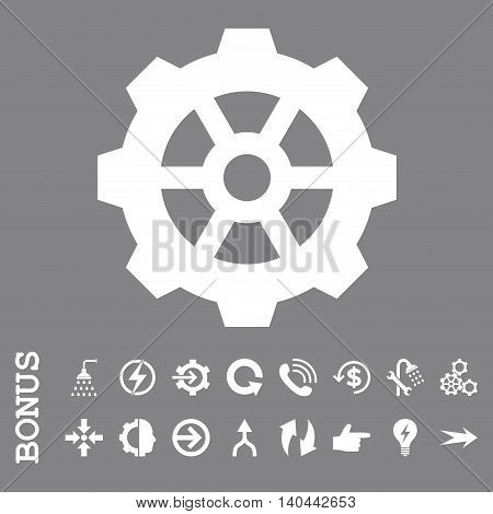 Gear vector icon. Image style is a flat iconic symbol, white color, gray background.