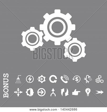 Gears vector icon. Image style is a flat iconic symbol, white color, gray background.