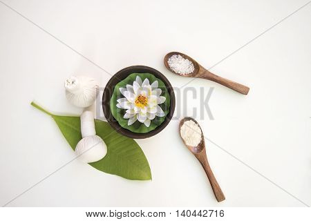 Spa Treatments  and massage on wooden white