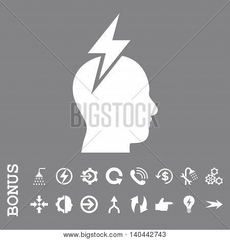 Headache vector icon. Image style is a flat iconic symbol, white color, gray background.