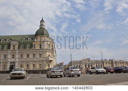 KHARKIV UKRAINE - APRIL 26 2015: Renovated old house on the Rymarskaya street in Kharkov