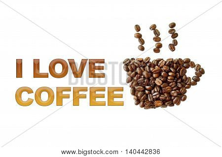 word I love coffee with coffee beans coffee cup shape on white background