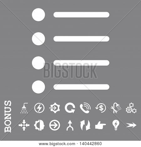 Items vector icon. Image style is a flat iconic symbol, white color, gray background.
