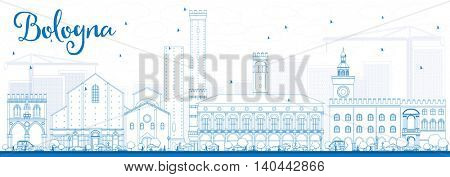 Outline Bologna Skyline with Blue Landmarks. Business Travel and Tourism Concept with Historic Buildings. Image for Presentation Banner Placard and Web Site.