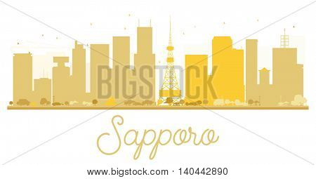 Sapporo City skyline golden silhouette.