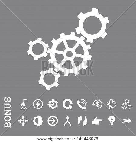 Mechanism vector icon. Image style is a flat pictogram symbol, white color, gray background.
