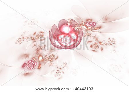 Abstract glowing rose flowers on white background. Fantasy light pink fractal design for posters wallpapers or t-shirts. Digital art. 3D rendering.
