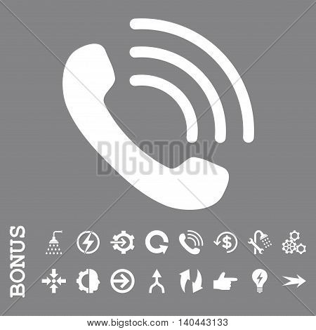 Phone Call vector icon. Image style is a flat iconic symbol, white color, gray background.
