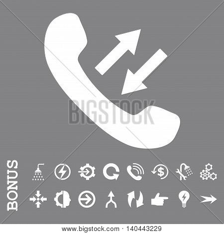 Phone Talking vector icon. Image style is a flat iconic symbol, white color, gray background.