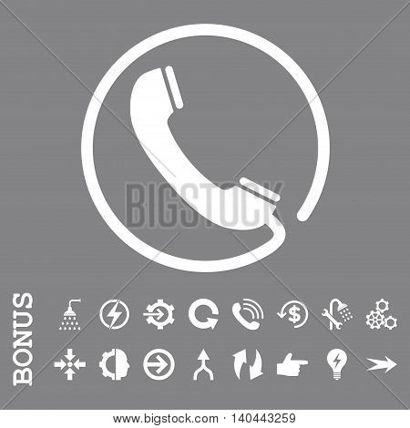 Phone vector icon. Image style is a flat pictogram symbol, white color, gray background.