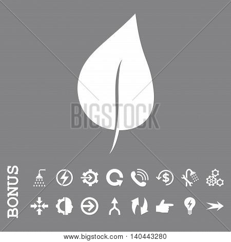 Plant Leaf vector icon. Image style is a flat iconic symbol, white color, gray background.