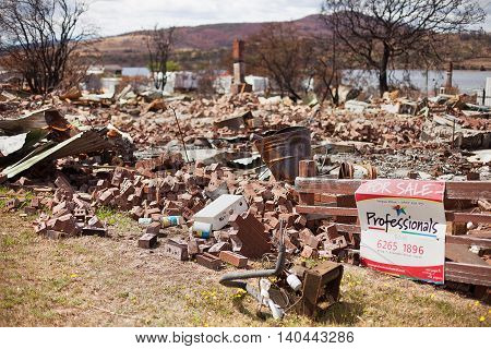 Dunalley Australia-February 3 2013. Ruins of a buildings in Dunalley Tasmania destroyed by bushfire