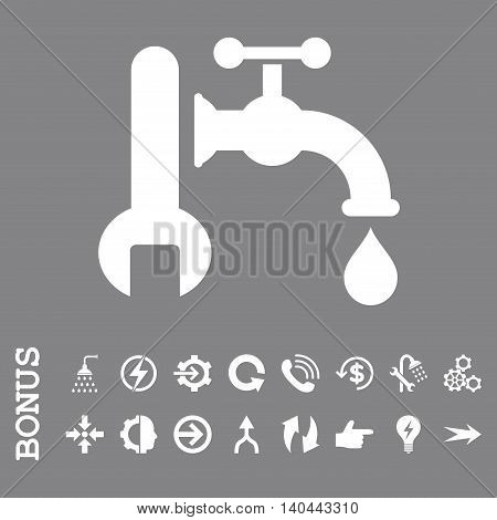 Plumbing vector icon. Image style is a flat pictogram symbol, white color, gray background.