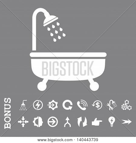 Shower Bath vector icon. Image style is a flat iconic symbol, white color, gray background.