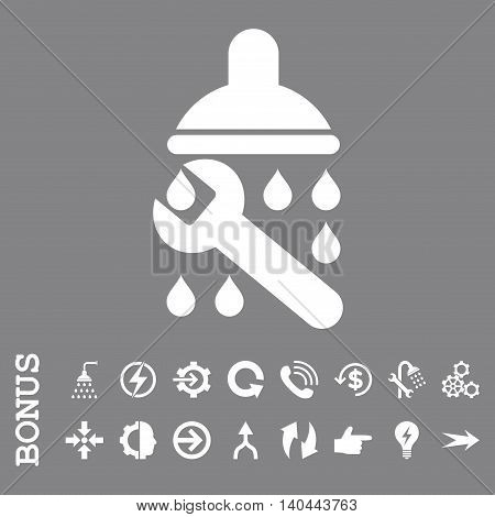 Shower Plumbing vector icon. Image style is a flat pictogram symbol, white color, gray background.
