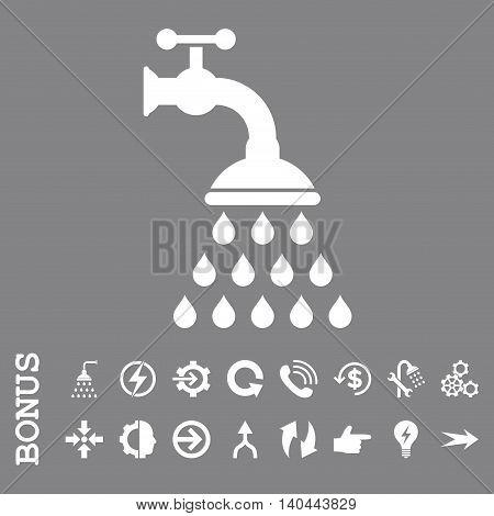 Shower Tap vector icon. Image style is a flat iconic symbol, white color, gray background.