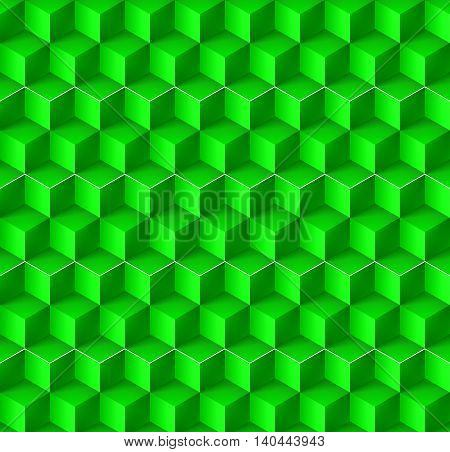 Abstract geometric background with cubes in green