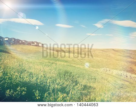 Beautiful view of fields at the edge of a town - Instagram and lighting effects
