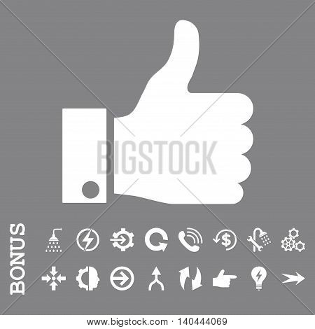 Thumb Up vector icon. Image style is a flat pictogram symbol, white color, gray background.