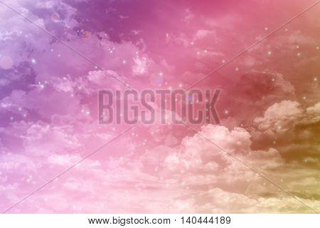 Fancy Dreamy Puffy Clouds On Pink Heaven Sky