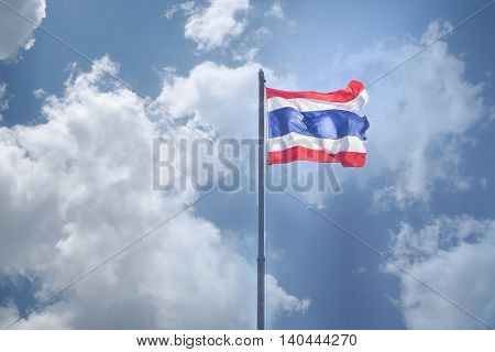 Thailand flag with flagstaff on cloudy sky background.