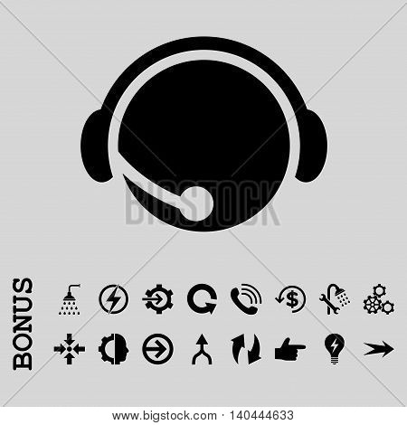 Call Center Operator vector icon. Image style is a flat pictogram symbol, black color, light gray background.