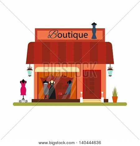 Clothing shop in flat style - vector illustration stock. Infographic elements. Market icon with showcases isolated on white background. Store on the street. Cloth boutique.