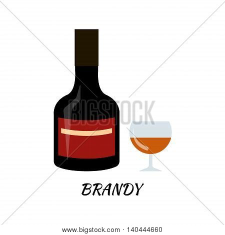 Brandy alcohol bottle in flat style. Icon vector stock llustration