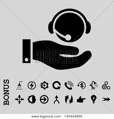 Call Center Service vector icon. Image style is a flat iconic symbol, black color, light gray background.