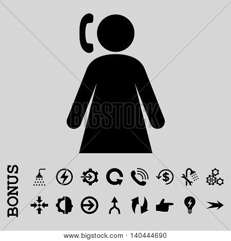 Calling Woman vector icon. Image style is a flat iconic symbol, black color, light gray background.