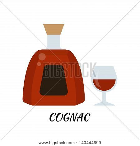 Cognac alcohol bottle in flat style. Icon vector stock llustration.