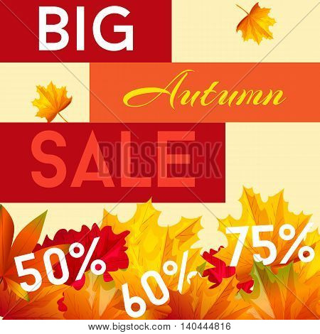 Big autumn sale. Vector illustration for business presentation. Cartoon style.