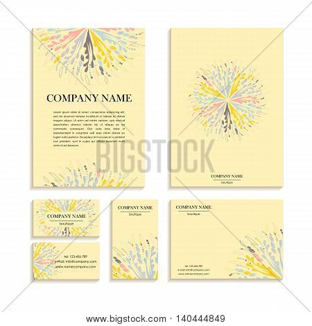 Set of business cards letterheads for design. Templates with an abstract pattern. Vector illustration in pastel colors.