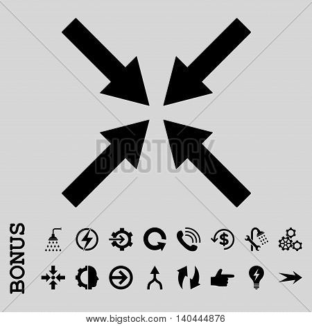 Center Arrows vector icon. Image style is a flat pictogram symbol, black color, light gray background.