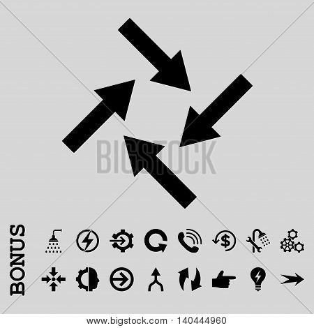 Centripetal Arrows vector icon. Image style is a flat pictogram symbol, black color, light gray background.