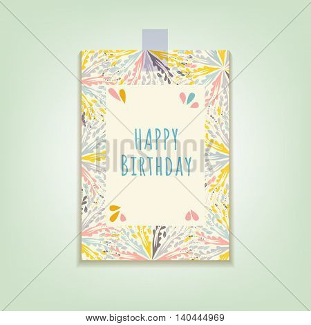 The greeting card Happy Birthday with abstract patterns in pastel colors. Vector illustration.