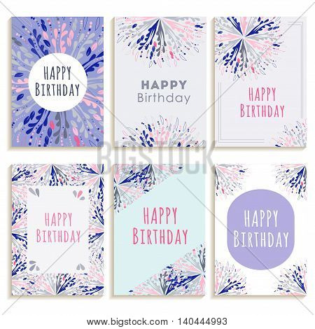 Set of greeting cards Happy Birthday with abstract patterns in pastel colors. Vector illustration.