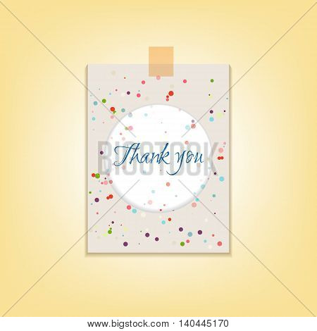 The card thank you with a pattern of dots in pastel colors. Vector illustration.