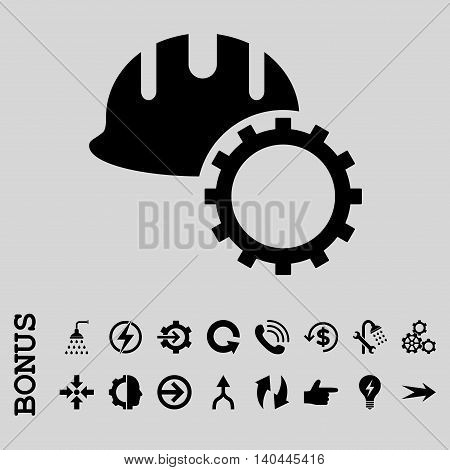 Development Hardhat vector icon. Image style is a flat pictogram symbol, black color, light gray background.