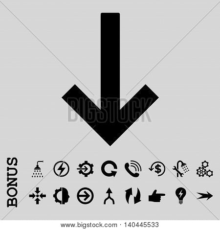 Down Arrow vector icon. Image style is a flat iconic symbol, black color, light gray background.