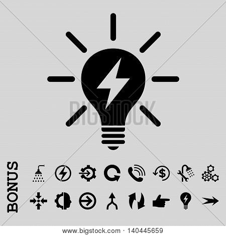 Electric Light Bulb vector icon. Image style is a flat pictogram symbol, black color, light gray background.