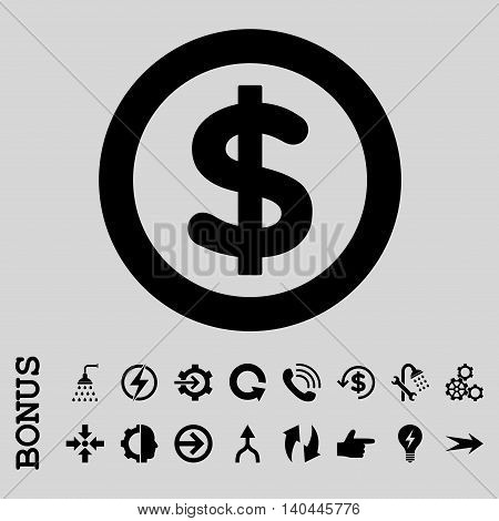 Finance vector icon. Image style is a flat pictogram symbol, black color, light gray background.