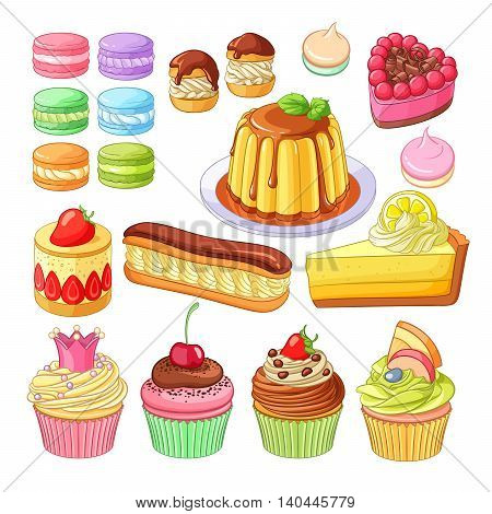 Vector set of delicious colorful desserts macarons, profiteroles, berry pie, strawberry fraisier, eclair, lemon cake, caramel flan, meringues and cupcakes.