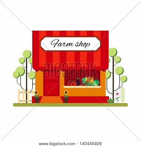 Farm product shop in flat style - vector illustration stock. Infographic elements. Market icon with showcases isolated on white background. Store on the street.