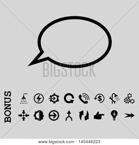 Hint Cloud vector icon. Image style is a flat iconic symbol, black color, light gray background.