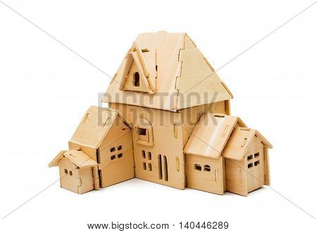 childhood wooden house isolated on white background