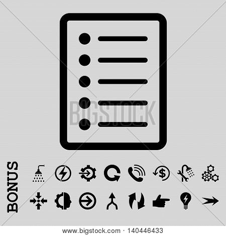 List Page vector icon. Image style is a flat iconic symbol, black color, light gray background.
