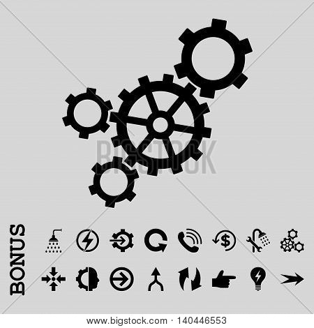 Mechanism vector icon. Image style is a flat iconic symbol, black color, light gray background.