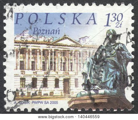 MOSCOW RUSSIA - CIRCA APRIL 2016: a post stamp printed in POLAND shows a view of Poznan town the series