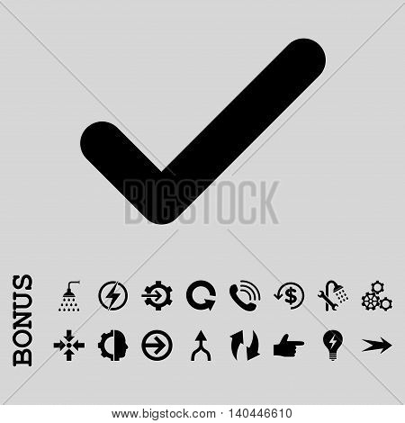 Ok vector icon. Image style is a flat iconic symbol, black color, light gray background.